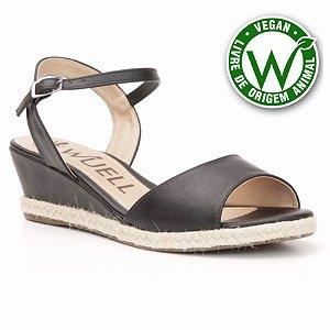 Sandália salto Anabela Feminina Wuell Casual Shoes - Vegan 3611 - preto