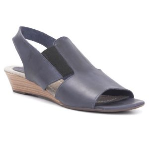 Sandália Feminina Salto Anabela em couro Wuell Casual Shoes - Ceros - VN 088305 - marinho