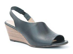 Sandália Feminina Salto Anabela em couro Wuell Casual Shoes - Ceros - VN 150400 - preta