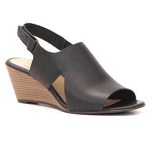 Sandália Feminina Salto Anabela em couro Wuell Casual Shoes -  Ceros - VN 167400 - preta
