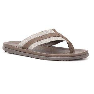 Sandália de dedo Masculina em Couro Wuell Casual Shoes - TI 0491 - café e bege