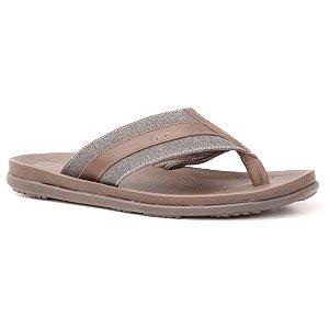 Sandália de dedo Masculina em Couro Wuell Casual Shoes  - TI 0491 - café e grafite