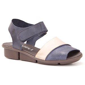Sandália anabela Feminina em Couro Wuell Casual Shoes - RO 03511 - azul e nude