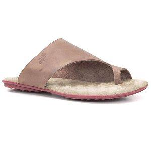 Sandália Rasteira Feminina em couro Wuell Casual Shoes - Ceros - VN 341232 - marrom e vermelho