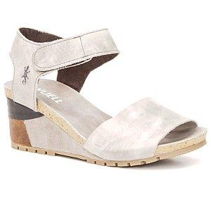 Sandália salto anabela Feminina em Couro Wuell Casual Shoes - Yurus - VC 05570 - cinza claro