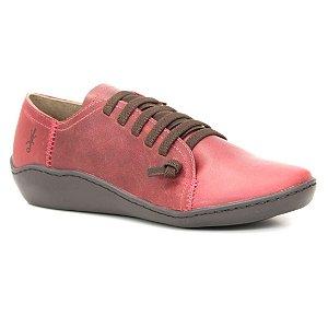 Sapato Feminino em Couro Natural Wuell Casual Shoes - RO 75010 - vermelho