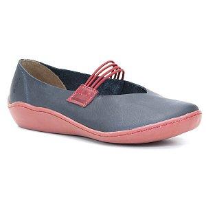 Sapatilha Feminina em Couro Natural Wuell Casual Shoes - RO 79510 - azul e vermelho