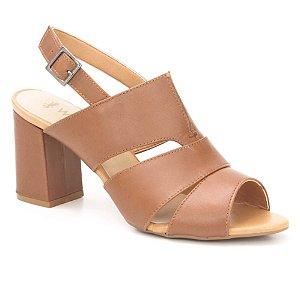 Sandália Salto Médio Feminina em Couro Wuell Casual Shoes – CL  001970 –  marrom