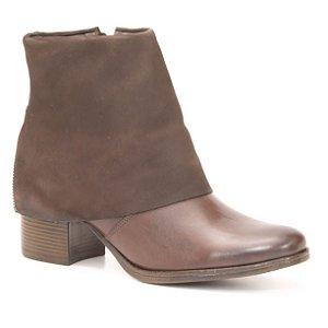 Bota Feminina de Salto Médio em Couro Natural Wuell Casual Shoes - CL 071915 -  marrom