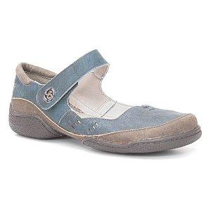 272a106ec3 Sapato Feminino em couro Wuell Casual Shoes - JLC 4300 - azul e marrom