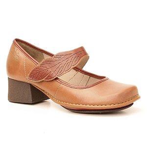 Sapato de salto médio Feminino em couro Wuell Casual Shoes - JKC 9800 - marrom claro