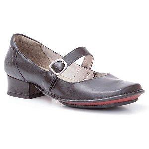 Sapato de salto médio Feminino em couro Wuell Casual Shoes - JXD 0600 - preto