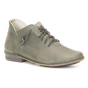 Bota Feminina cano curto em couro Wuell Casual Shoes - PUERTO NATALES - JVC 0100 - verde