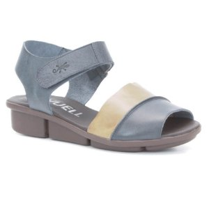 Sandália anabela Feminina em Couro Wuell Casual Shoes - RO 03511 - azul e areia