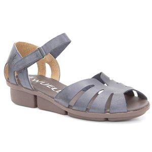 Sandália anabela Feminina em Couro Wuell Casual Shoes - PERITO MORENO  - RO 05311 - azul