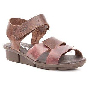 bea32bf6e9 Sandália anabela Feminina em Couro Wuell Casual Shoes - RO 06611 - bordô e  marrom