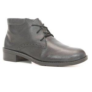 Bota Feminina cano baixo em Couro Wuell Casual Shoes - FITZ ROY - BZ 4850 - preto rústico
