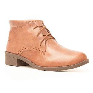 Bota Feminina cano baixo em Couro Wuell Casual Shoes - FITZ ROY - BZ 4850 - marrom rústico