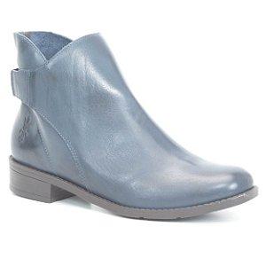 Bota de salto baixo Feminina em Couro Wuell Casual Shoes - FITZ ROY - BZ 3728 - marinho