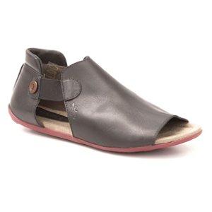 Sandália Rasteira Feminina em couro Wuell Casual Shoes - PUNTA ARENAS-  NV 103210 - preta e vermelha