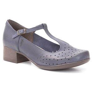 Sapato Feminino salto médio em couro Wuell Casual Shoes - PUNTA ARENAS - VN 025651 - marinho