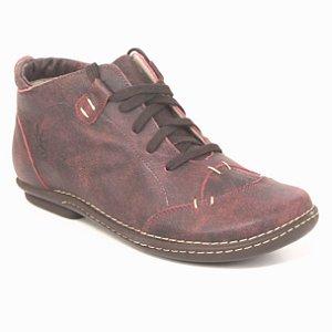 Bota Baixa Feminina em couro Wuell Casual Shoes - PUERTO NATALES - JCB 6300  - vermelha
