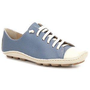 Sapatenis Feminino em Couro Wuell Casual Shoes - Madri 301 - marfim e azul