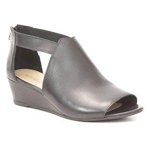 Sandália Anabela Feminina em couro Wuell Casual Shoes - Andarai - VN  006413 - preto