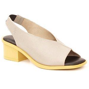 Sandália Feminina salto médio em couro Wuell Casual Shoes - Mucugê - LEB 01851 - cinza