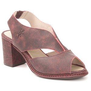 Sandália Feminina salto alto em couro Wuell Casual Shoes - Castelo - JBE 0100 - bordô