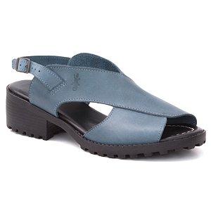 Sandália Feminina de salto médio em couro Wuell Casual Shoes - Andaraí -  VN 127407 - azul