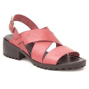 Sandália Feminina de salto médio em couro Wuell Casual Shoes - Andaraí - VN 126407 - vermelha