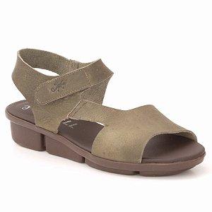 Sandália anabela Feminina em Couro Wuell Casual Shoes - Pati - RO 08511 - verde musgo