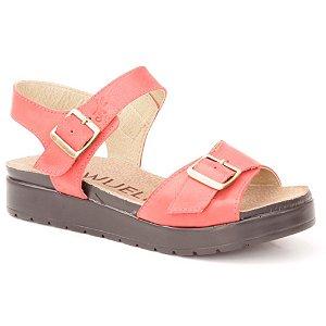 Sandália Anabela Feminina em Couro Wuell Casual Shoes - Iguatu - BS 07115 - vermelha