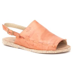 Sandália Rasteira Feminina em couro Wuell Casual Shoes - Iguatu - BS 03310 - laranja