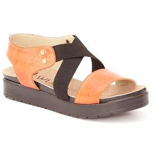 Sandália Anabela Feminina em Couro Wuell Casual Shoes - Iguatu - BS 07915 - laranja