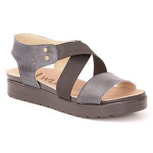 Sandália Anabela Feminina em Couro Wuell Casual Shoes - Iguatu - BS 07915 - azul