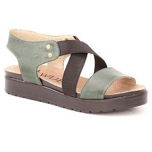 Sandália Anabela Feminina em Couro Wuell Casual Shoes - Iguatu - BS 07915 - verde