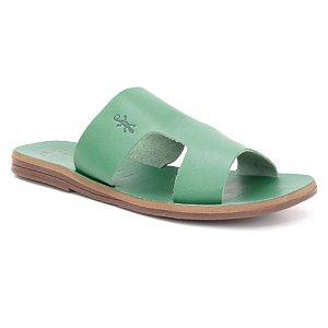 Sandália Rasteira Feminina em Couro Wuell Casual Shoes – Capão - MIZ 1218 – verde folha full