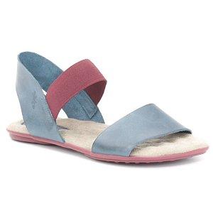 Sandália Rasteira Feminina em couro Wuell Casual Shoes - Andaraí - VN 212232 - azul e bordô