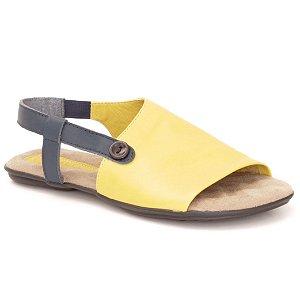 Sandália Rasteira Feminina em couro Wuell Casual Shoes - VN 335232 - amarelo e azul