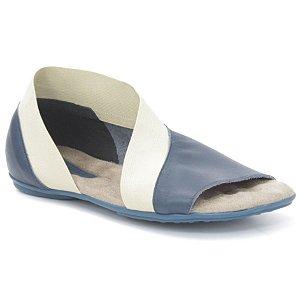 Sandália Rasteira Feminina em couro Wuell Casual Shoes - Andaraí - VN 326232 - azul marinho e marfim
