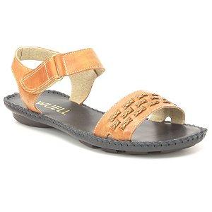 Sandália Rasteira Feminina em couro Wuell Casual Shoes - Funis - MB 0770 -  laranja