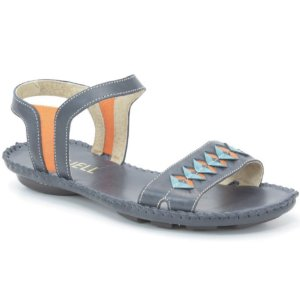 Sandália Rasteira Feminina em couro Wuell Casual Shoes - Funis - MB 3270 - marinho