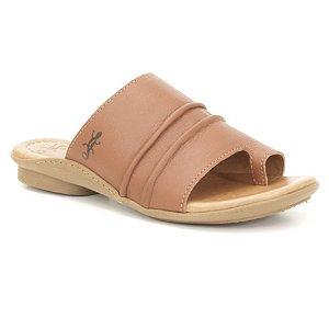 Sandália Rasteira Feminina em couro Wuell Casual Shoes - Funis - TI 60321 - marrom