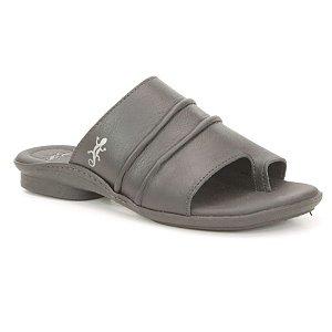 Sandália Rasteira Feminina em couro Wuell Casual Shoes - Funis - TI 60321 - preto