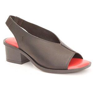 Sandália Feminina salto médio em couro Wuell Casual Shoes - Mucugê - LEB 01851 - preta e vermelha