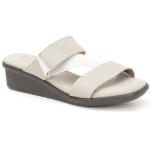 Sandália Anabela Feminina em couro Wuell Casual Shoes - Mucugê - LEB 90234 - cinza