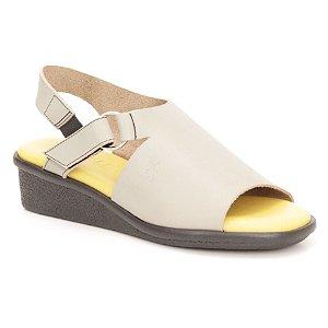 Sandália Anabela Feminina em couro Wuell Casual Shoes  - Mucugê - LEB 012349 - cinza