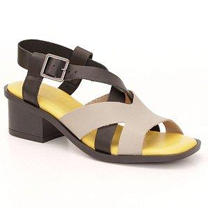 Sandália Feminina salto médio em couro Wuell Casual Shoes - Mucugê - LEB 10335 - cinza e preta